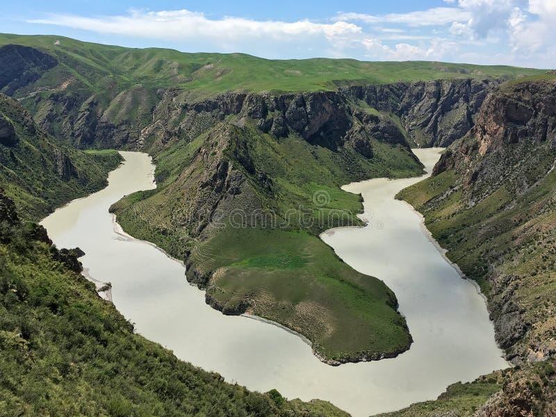 River in Kalajun Grassland Xinjiang China. Kalajun Grassland is located in northwestern China`s Xinjiang Uygur Autonomous Region. Kalajun means `a dark royalty free stock photography