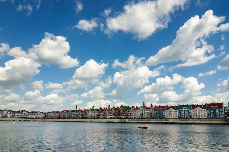 The river Kokshaga and embankment Bruges in Yoshkar-Ola. stock photo