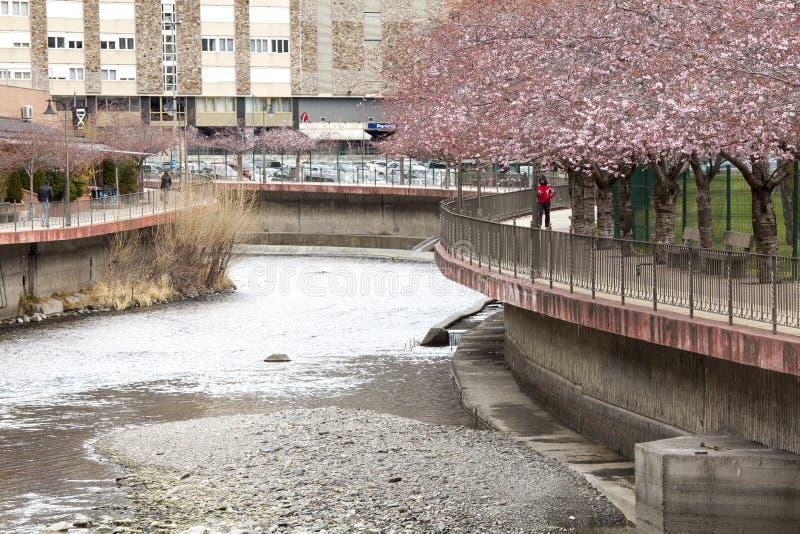 River La Valira in the city of La Vella in Andorra. stock photography
