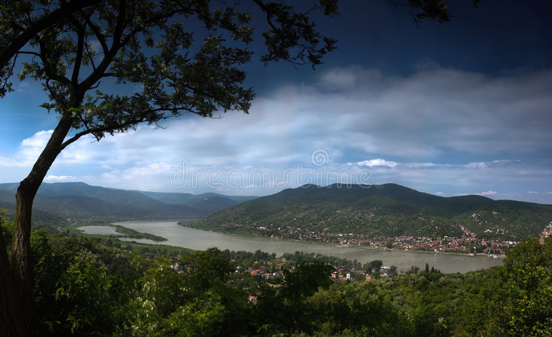 River landscape. This is a landscape with river in the valley. The location is the bend of Danube in Hungary during a the most higher flood in the past 100 years royalty free stock photo