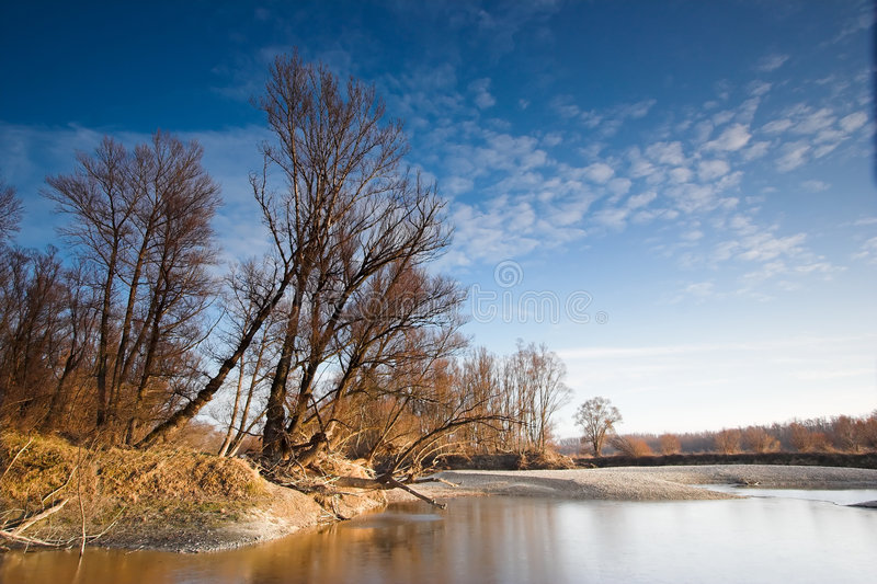 River landscape. Landscape photo taken along the river Danube in Austria on a winter afternoon royalty free stock image