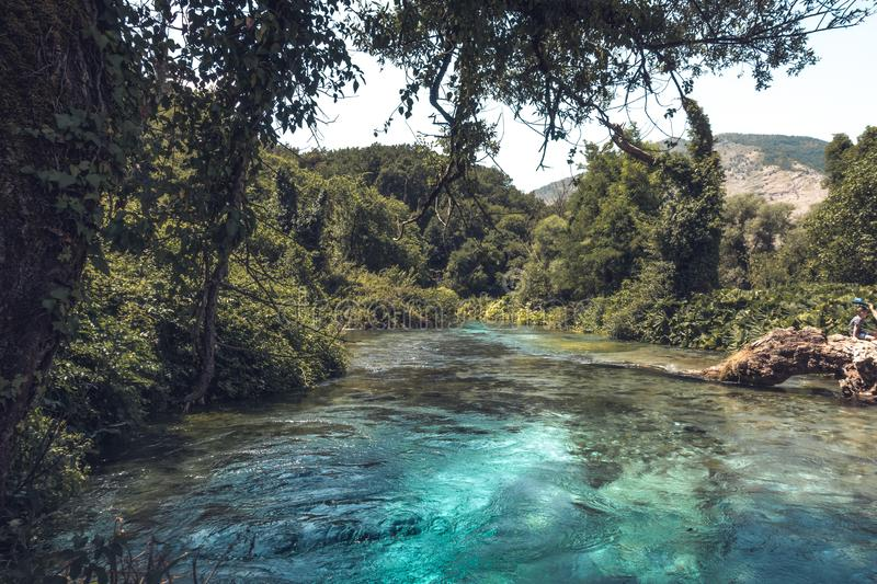 River through the landscape of Albania stock images
