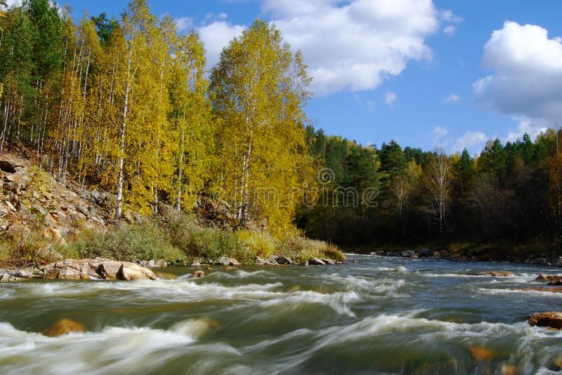 River landscape in Autumn. Ural mountains. Russia. River landscape in Autumn time. Ural mountains. Russia royalty free stock photos