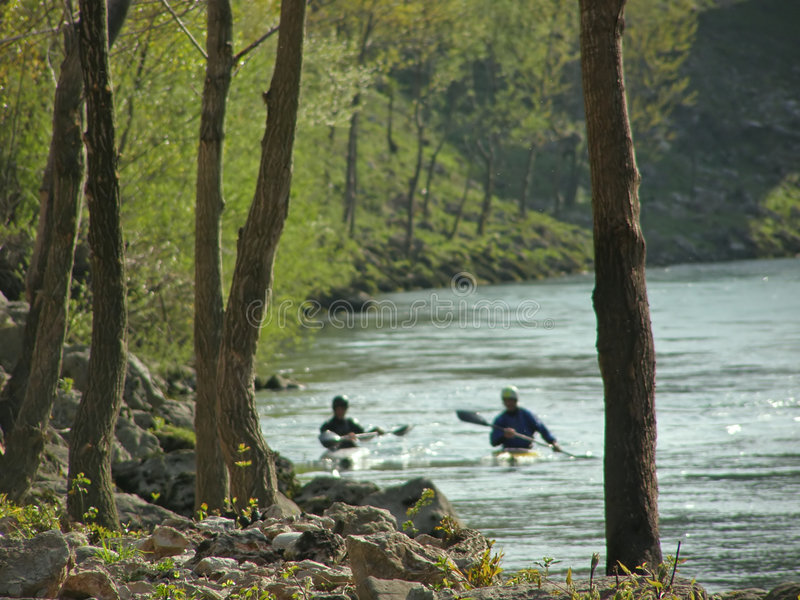 Download River Landscape And Canoeing Stock Image - Image: 5713431