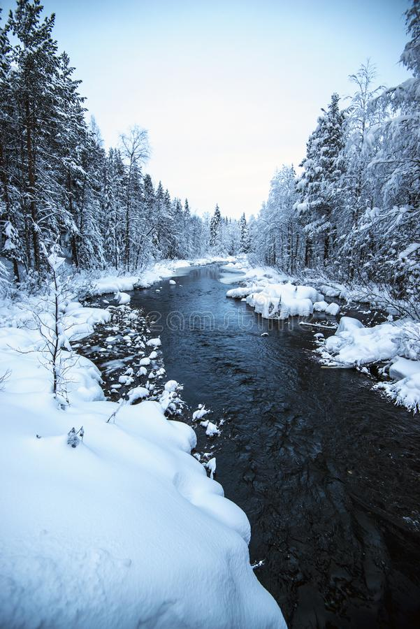 River landscape covered in snow stock photo