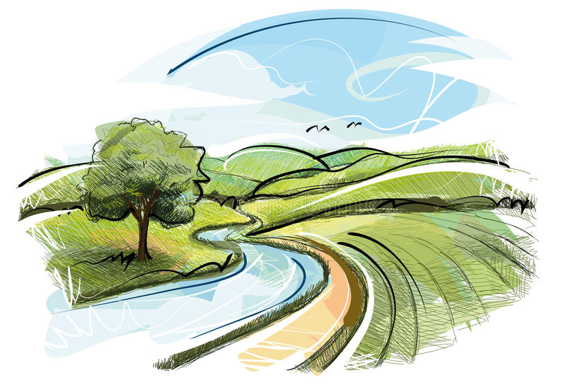 River Landscape. Digital Drawing Landscape with Trees,Plants,Agriculture and a River vector illustration