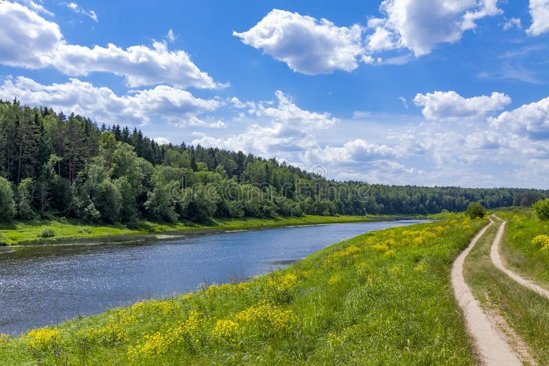 River. Landscape with river, forest, sky and clouds royalty free stock photos