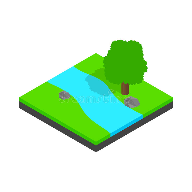 River landscape icon, isometric 3d style. River landscape icon in isometric 3d style isolated on white background. Nature and water symbol royalty free illustration