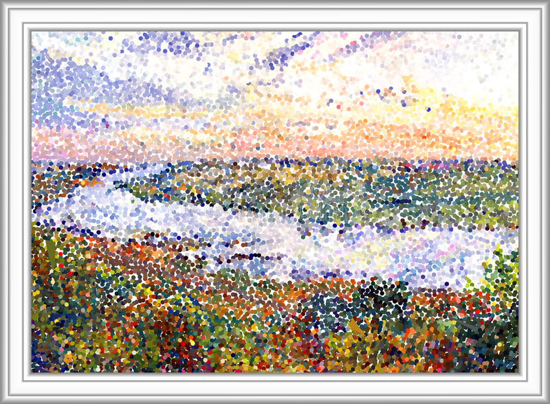 River landscape. River Tom. Russia. Siberia. This image made from gouache painting. Digital pointillism. End of summer. Grey border royalty free illustration
