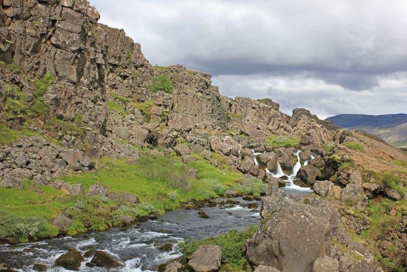 River between lava walls at the thingvellir national park stock photo