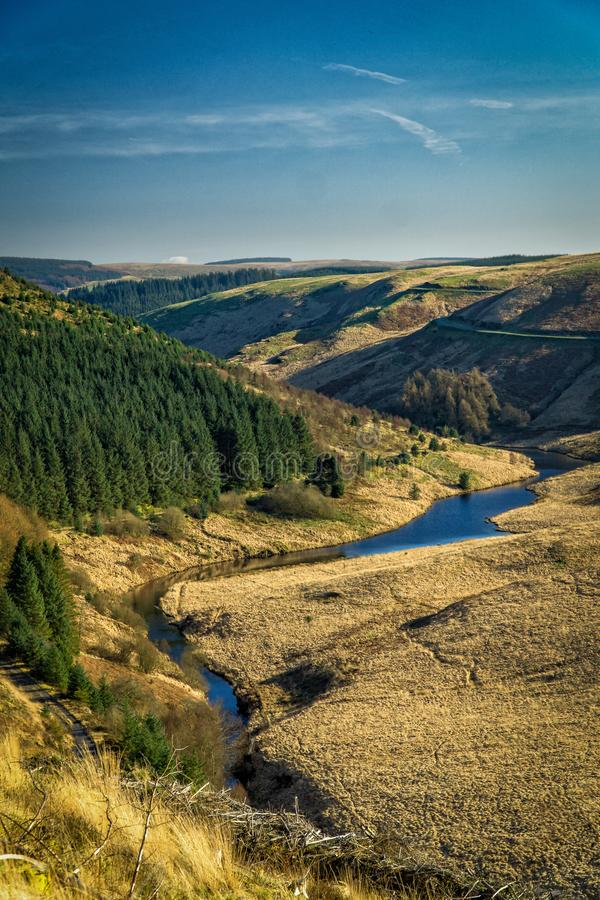 River leading into Llyn Brianne Reservoir royalty free stock photography