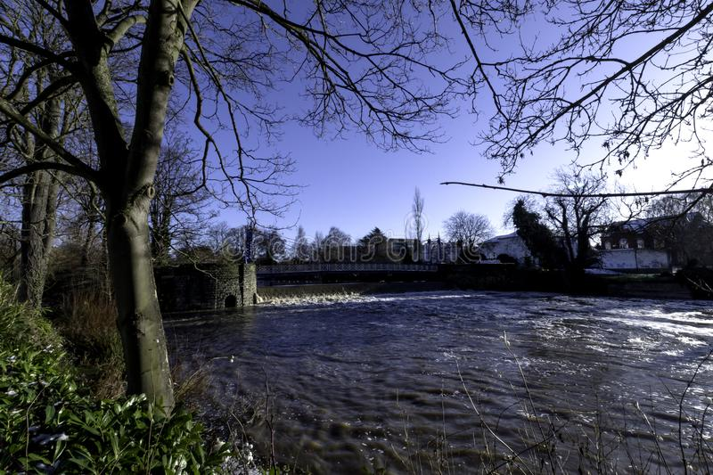 River Leam in winter - Pump Room / Jephson Gardens, Royal Leamington Spa stock images