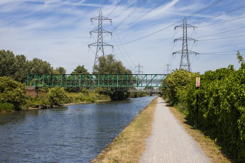 The River Lee in London. Walking along the River Lee Navigation towpath between Chingford and Enfield royalty free stock photos