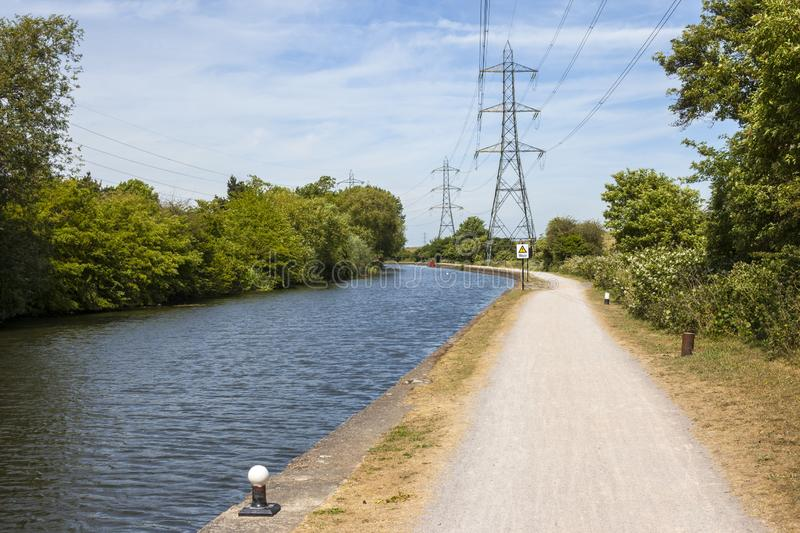 The River Lee in London. Walking along the River Lee Navigation towpath between Chingford and Enfield royalty free stock photo