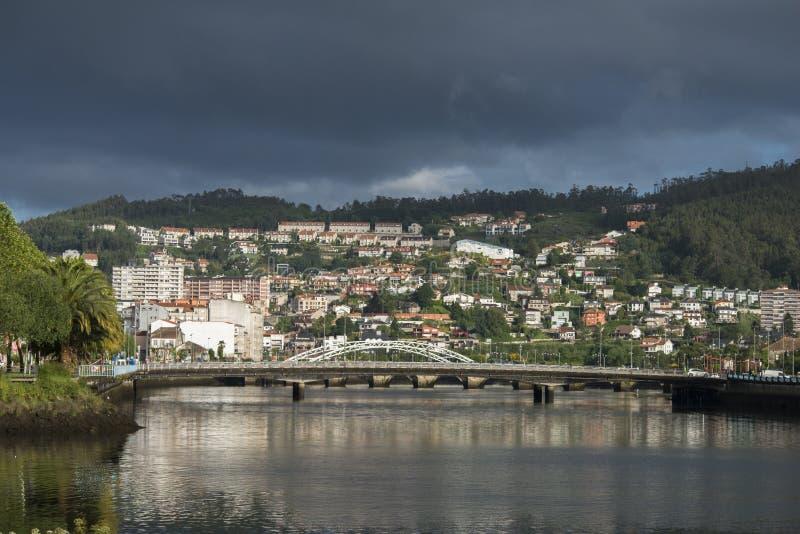 River Lerez on its way through Pontevedra Spain. View of the bridges that cross the River Lerez as it passes through Pontevedra Spain royalty free stock photography