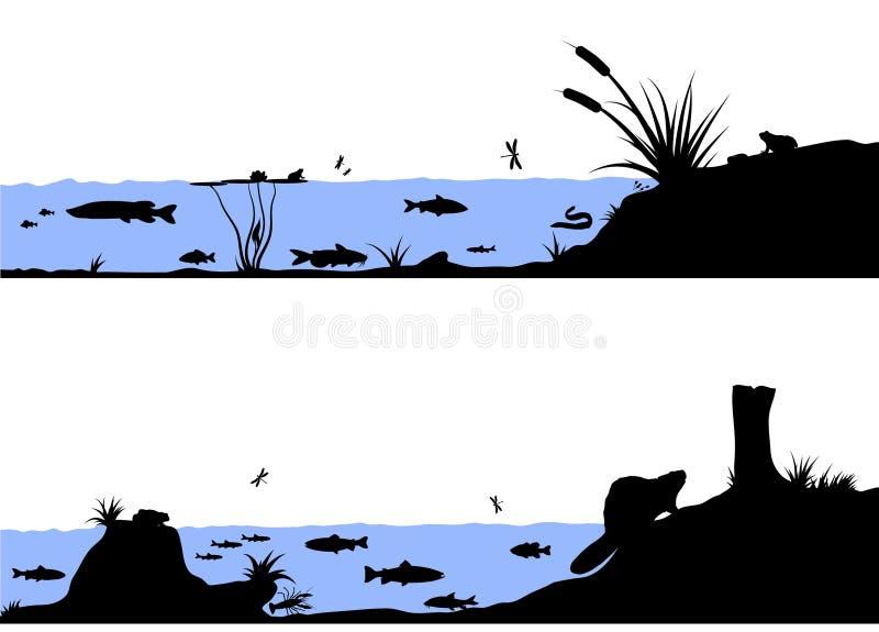 River life vector silhouette illustration