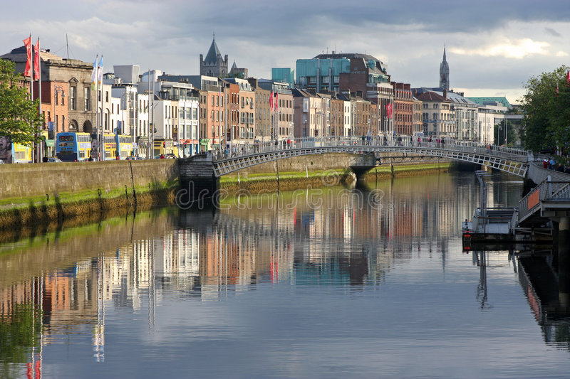 River liffey in dublin ireland, evening light stock photography