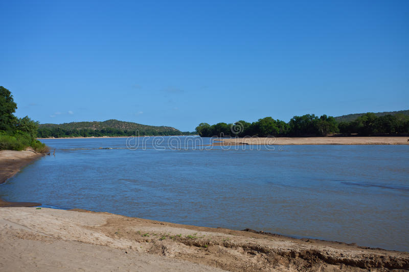 River Limpopo on the border of South Africa and Zimbabwe. Beach and riverbed, Limpompo in March stock photos