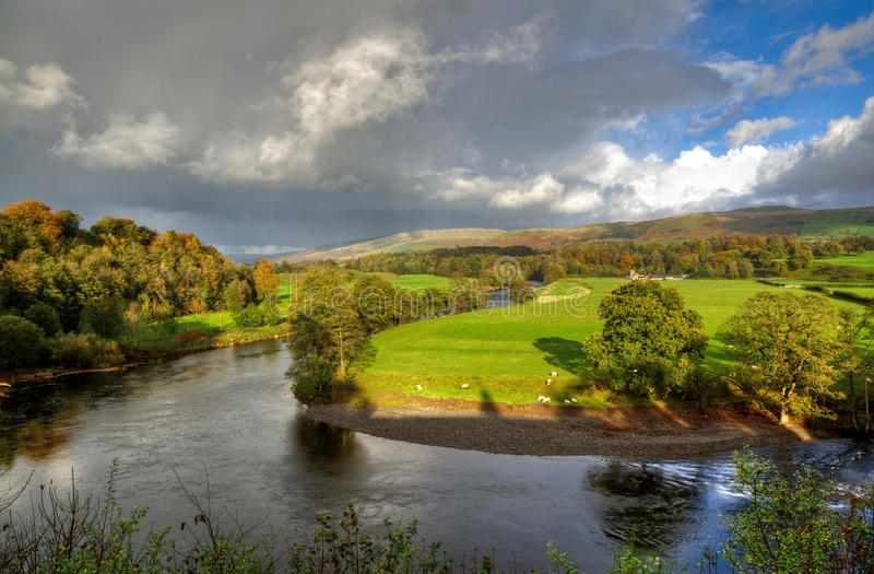 River Lune in Kirkby Lonsdale. View of a bend in the River Lune at Kirkby Lonsdale, Cumbria royalty free stock image