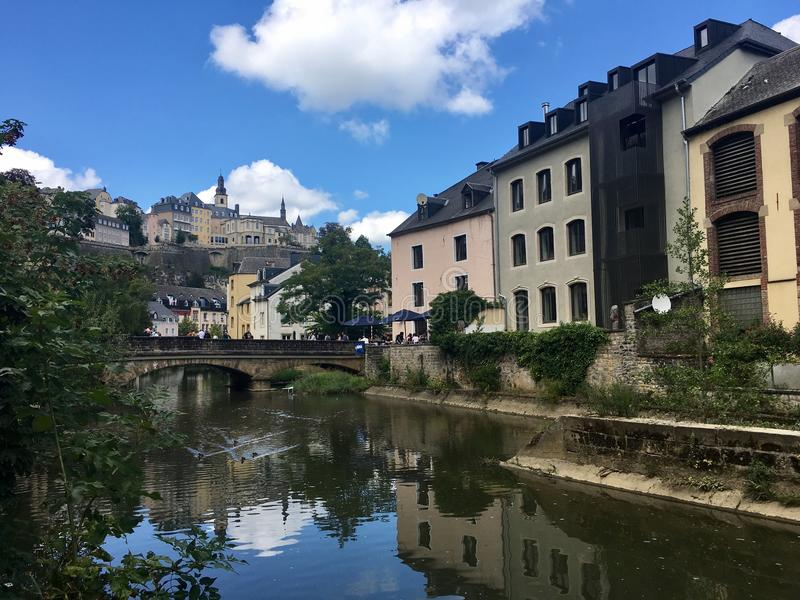 River in Luxembourg City royalty free stock images