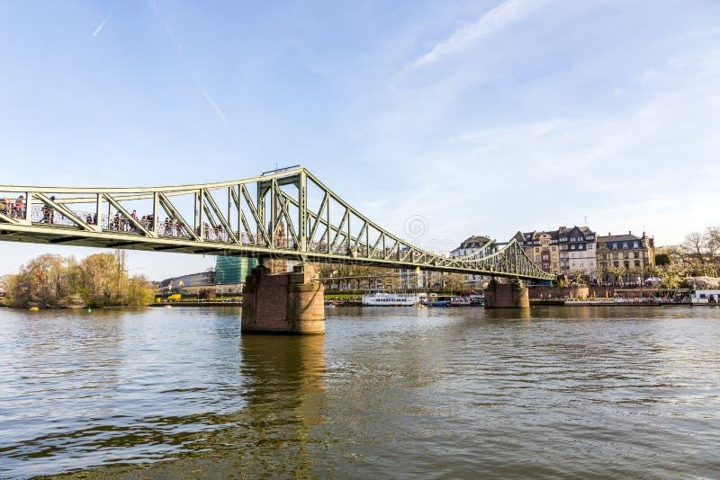 Download River Main With Bridge Eiserner Steg In Frankfurt Stock Photo - Image of german, panorama: 39501072