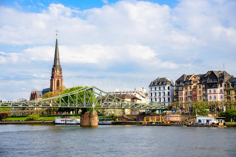 The river Main in Frankfurt from above, Germany. stock photos
