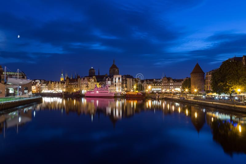 River and Main Town in Gdansk at dusk royalty free stock images