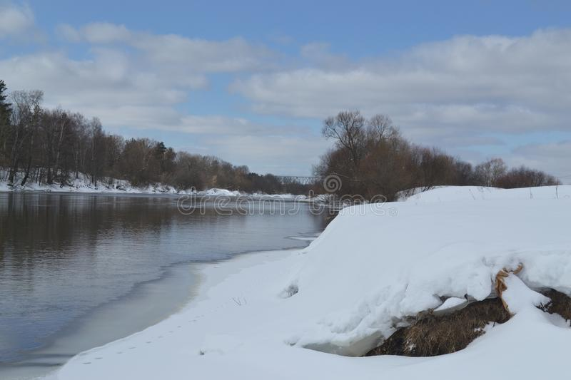 River in March in Russia royalty free stock photography