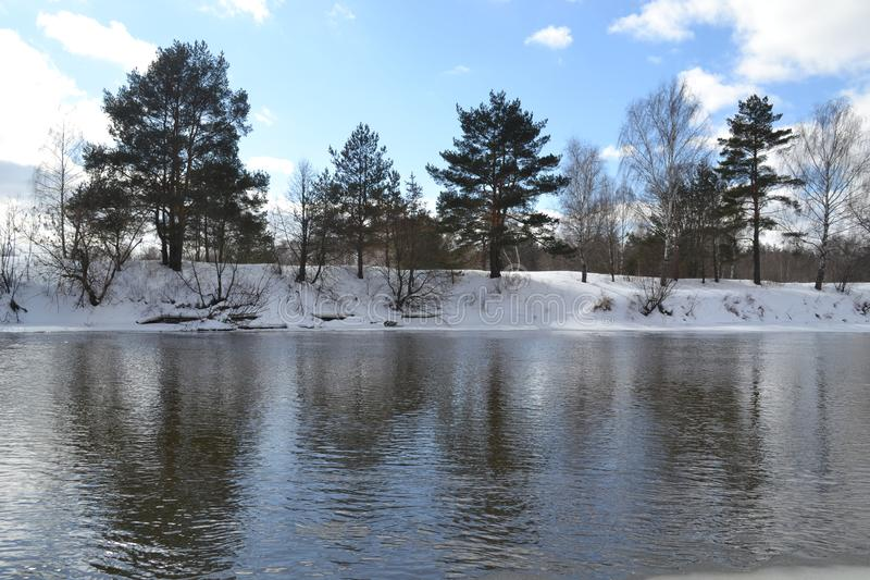 River in March in Russia royalty free stock images