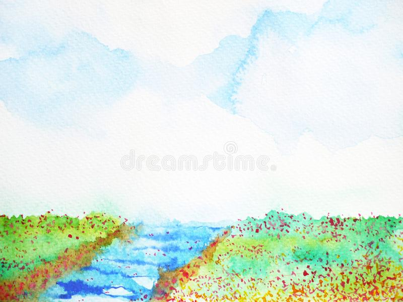 River and meadow flower field landscape watercolor painting. Illustration vector illustration