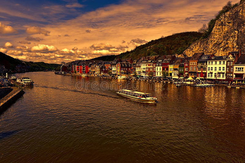 River Meuse in the Belgian City of Dinant stock photo