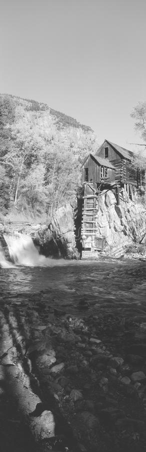 The River Mill. At Crystal River Valley, Colorado; grayscale stock images