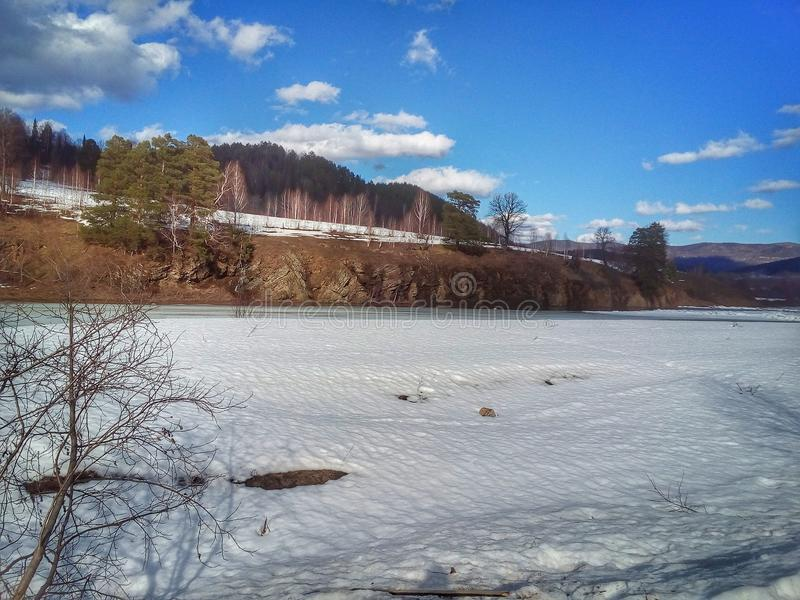 River and monuments. The nature of Bashkortostan, the river Inzer mountain Hiking alloy spring river Inzer hostel stock photography