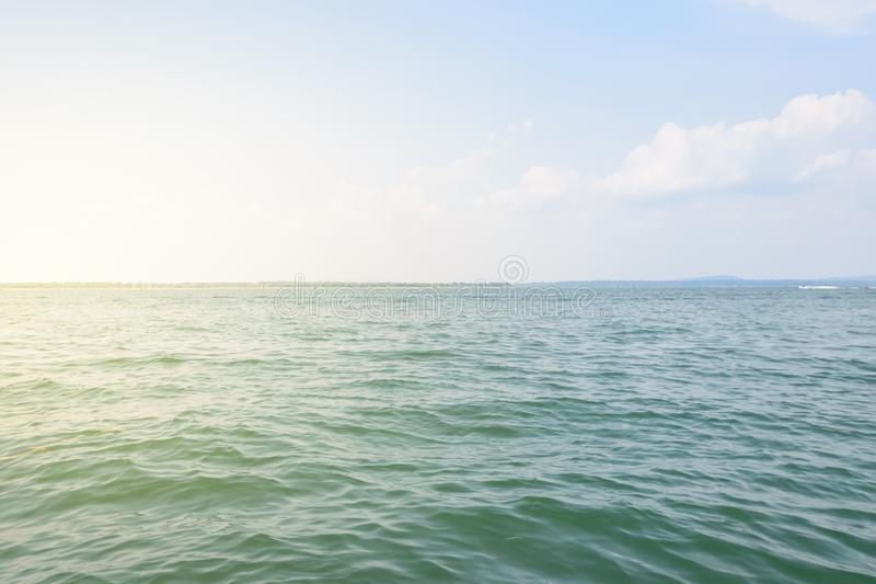 River morning with blue sky background stock photography