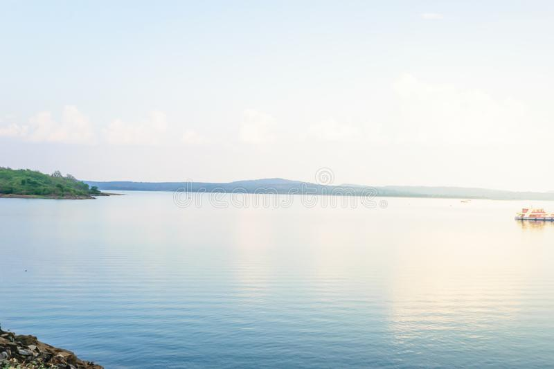 River morning with blue sky background stock images