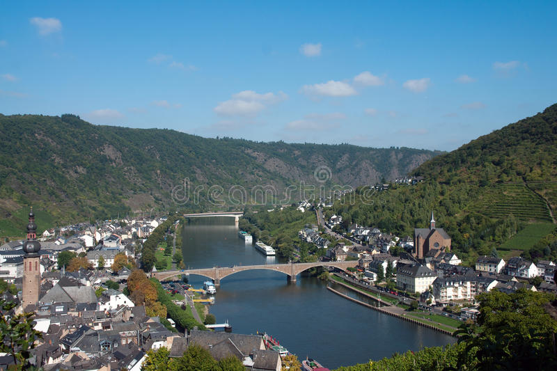 River Mosel. Tourism ship on the river Mosel at the german city Cochem royalty free stock photo