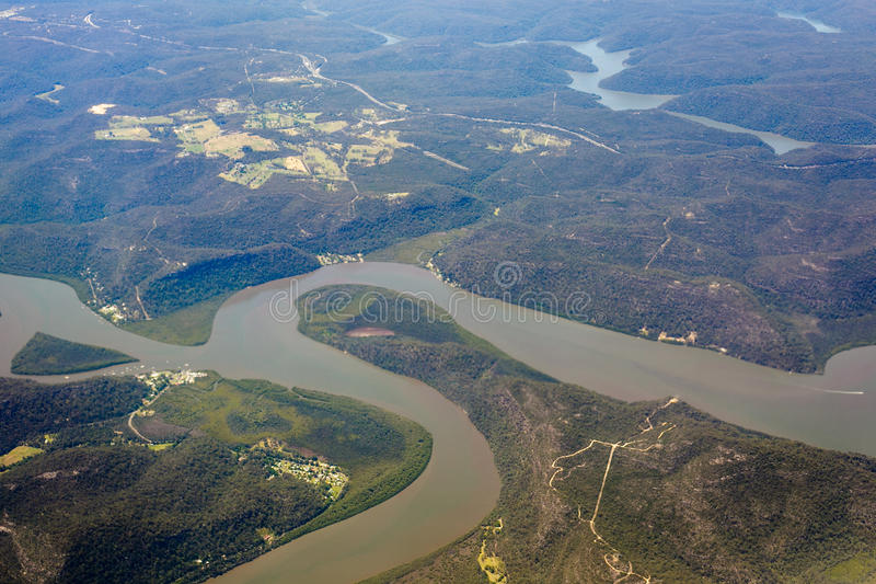 River and mountain aerial view in Australia. River and mountain Aerial view Australia,look from airplant stock image