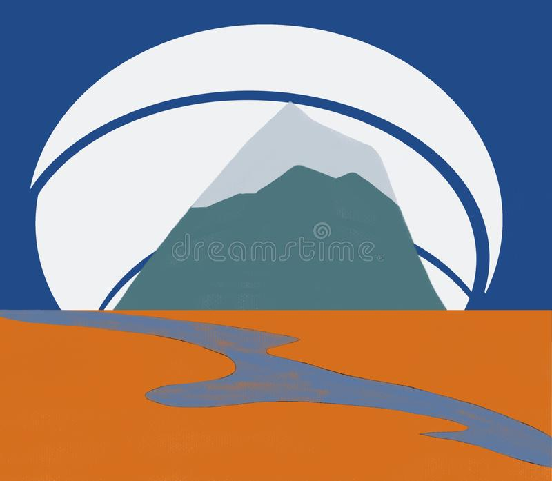 The river and mountain in the background, travel icon design. The river and mountain, travel icon design royalty free illustration