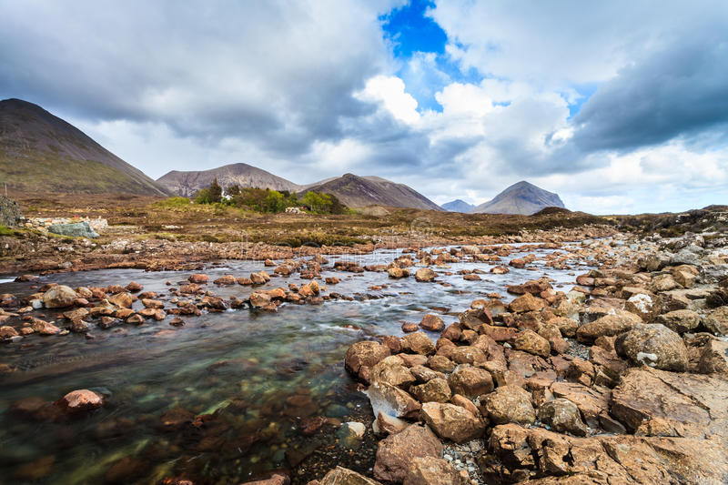 River in a mountain landscape royalty free stock image