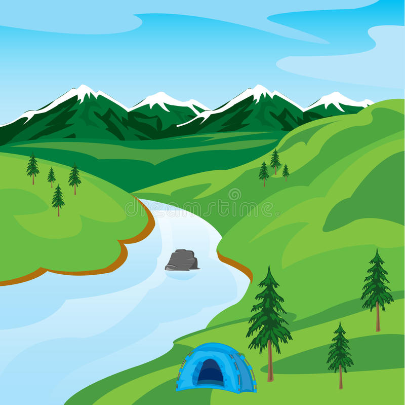 River in mountain royalty free illustration