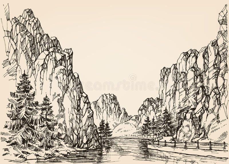 River in the mountains stock illustration