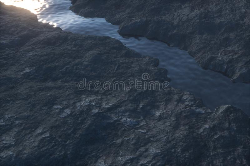 The river between the mountains in the morning, 3d rendering vector illustration