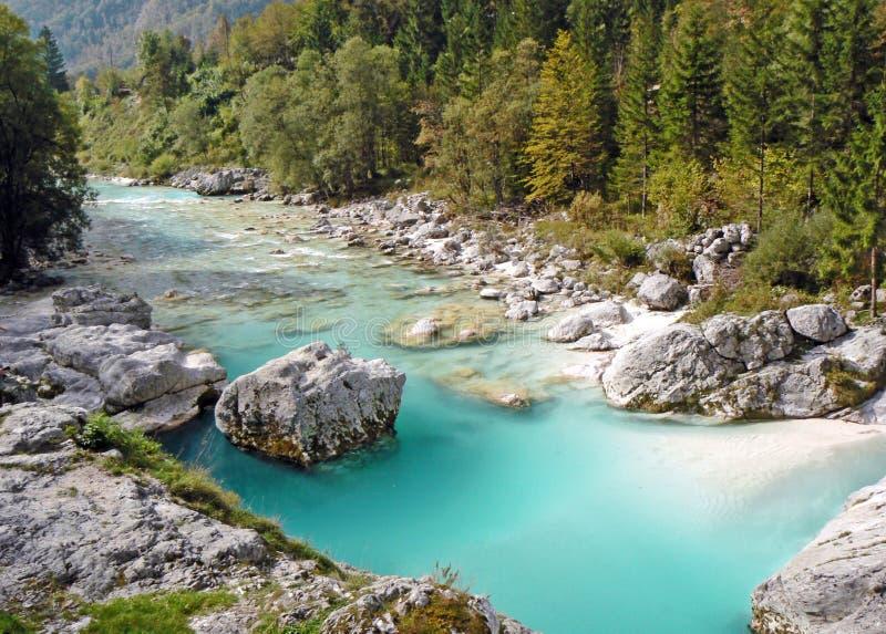 River in mountains, soca, slovenia.  royalty free stock photo