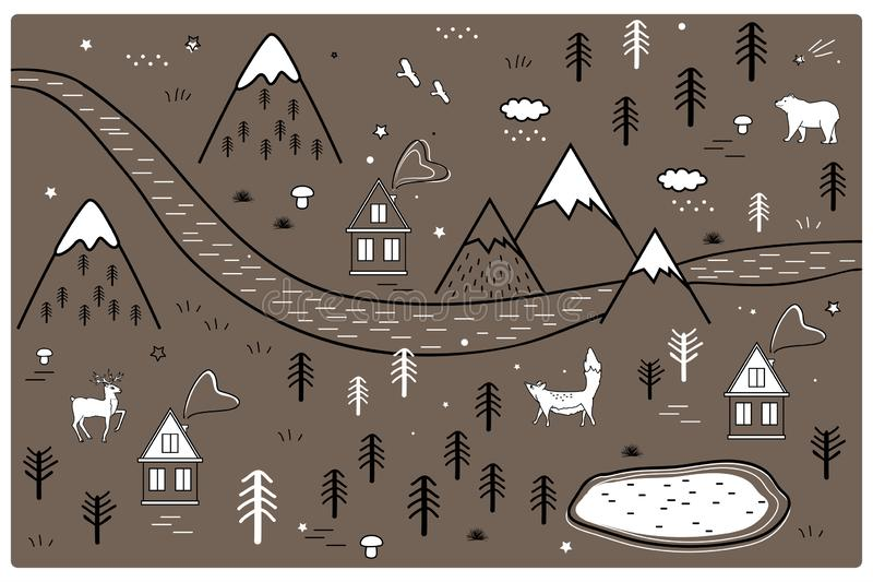 River, Mountains and Woods Adventure Map with Houses and Animals. Scandinavian Style Art Nursery Monochrome Door or Wall. Vector River, Mountains and Woods royalty free illustration