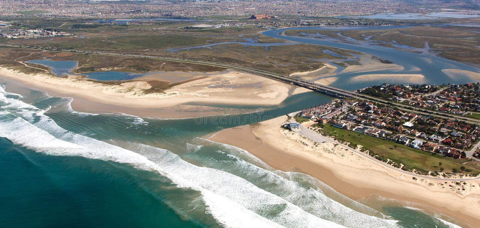 River Mouth and Estuary from the Air. Aerial view of Swartkops River mouth and estuary in South Africa stock photos