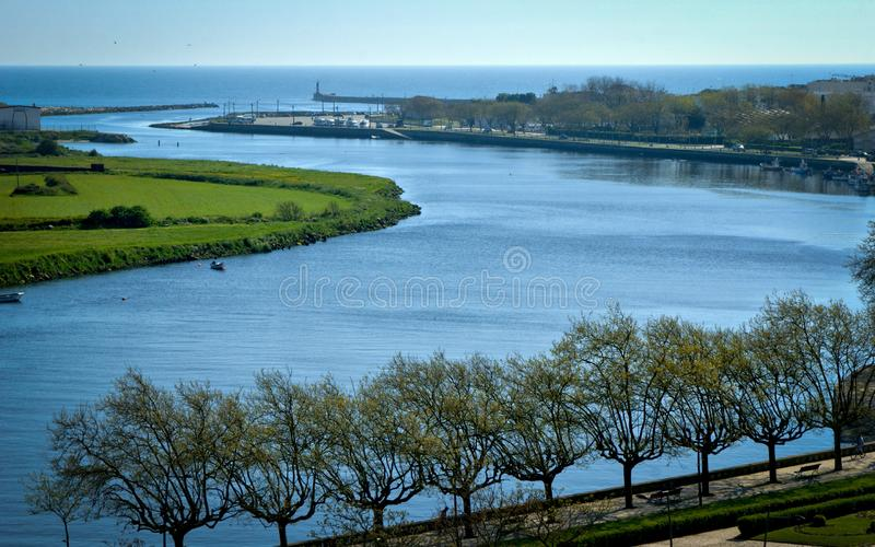 River mouth in Vila do Conde. Portugal royalty free stock images
