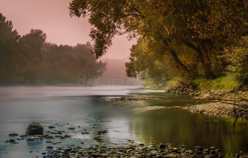 River Mura. At sunset in Veržej - Slovenia royalty free stock photography