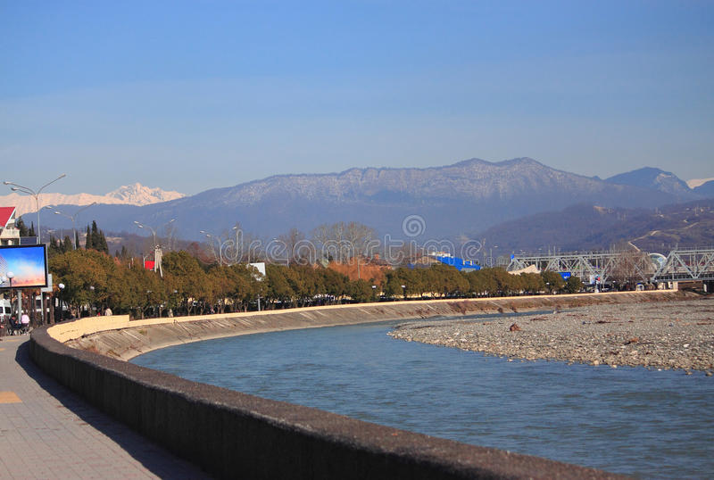 River Mzymta in Adler, the southest district of. Sochi, Russia stock photos