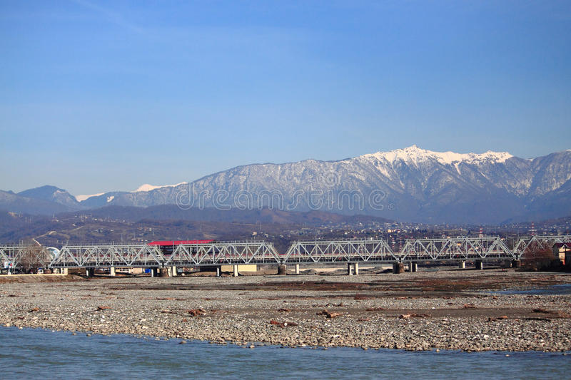 River Mzymta in Adler, the southest district of. Sochi, Russia royalty free stock photo