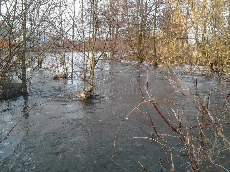 River, nature, beauty. Spring flooding. The river burst its banks stock photo